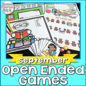 Speech Therapy Fun: September Open Ended Games