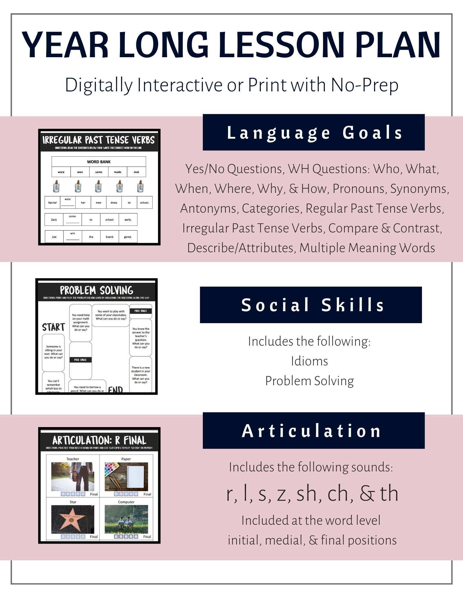 Year Long Digitally Interactive Lesson Plan For Speech