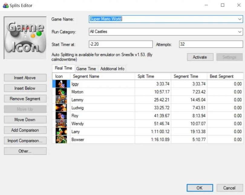 LiveSplit Edit Splits