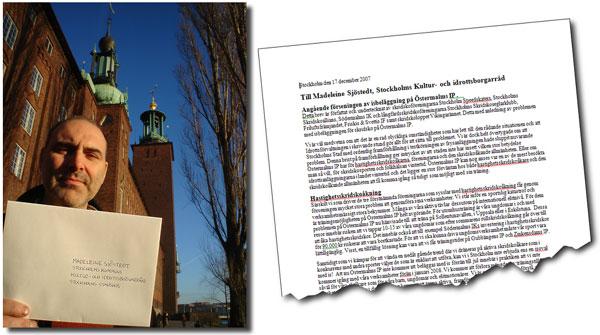 Jan Herrström överlämnar ett brev till Kultur- och idrottsborgarrådet. Stadshusfotot: Ulf Haase.
