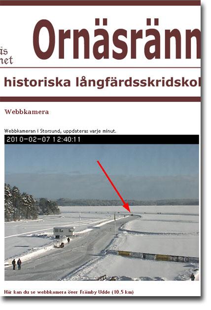Ornäsrännet 2010-02-07, webbkamera från Ornäsrännets hemsida.