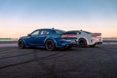 2020 Dodge Charger SRT Hellcat Widebody (Front) and 2020 Dodge Charger Scat Pack Widebody (Rear)