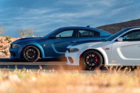 2020 Dodge Charger Scat Pack Widebody (Front) and 2020 Dodge Charger SRT Hellcat Widebody (Rear)