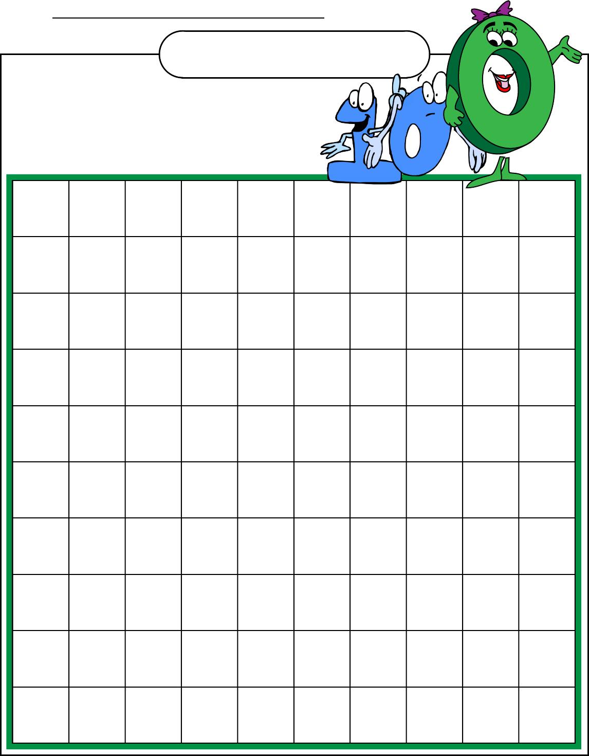 Free Hundreds Chart Blank
