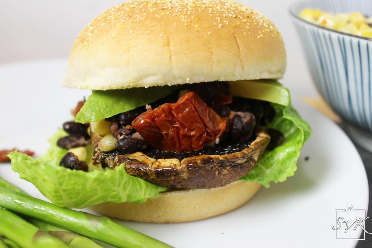 Blackbean Portobello mushroom burger