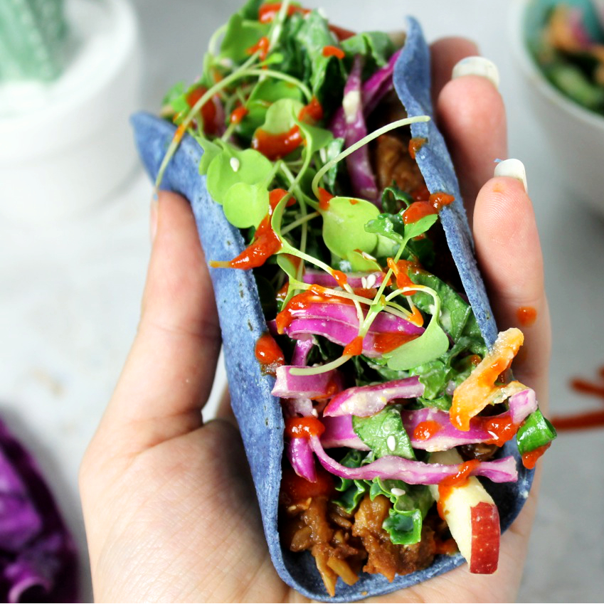 Vegan pulled pork taco delicious