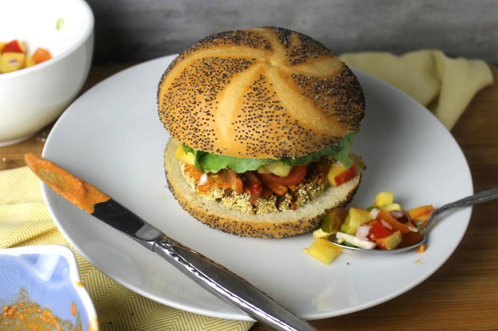 Thai inspired black bean sweet potato burger