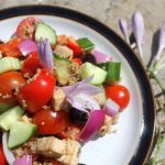 Vegan Greek Salad close up