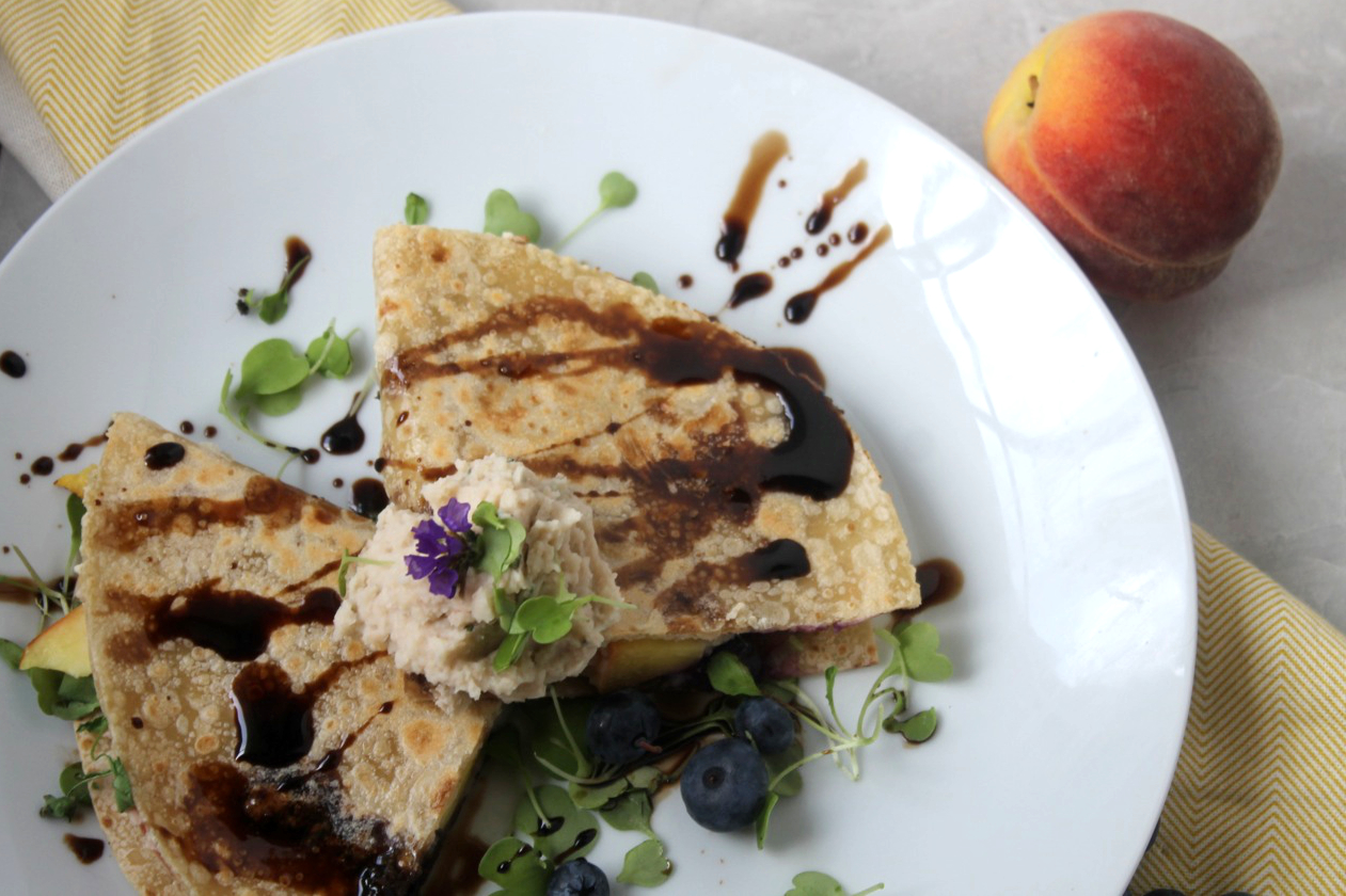 Peach and Blueberry Navy Bean Quesadilla