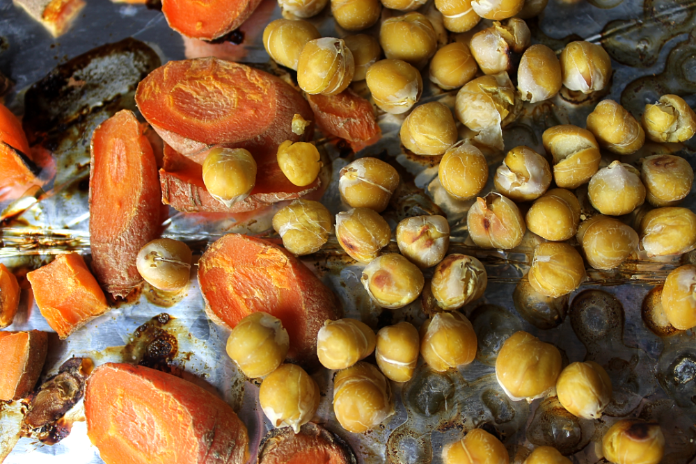 Carrots and Roasted Chickpeas