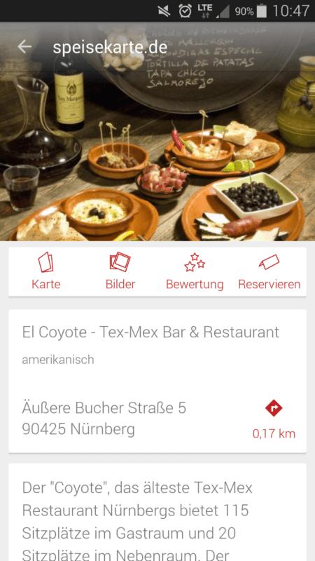 Restaurantprofilseite speisekarte.de App