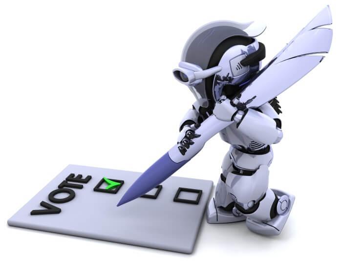 Ein niedlicher Roboter füllt mit einer riesigen Feder einen Stimmzettel aus