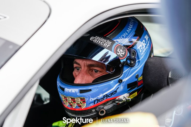 Earchphoto - Derek in the Porsche on pre-grid at COTA.