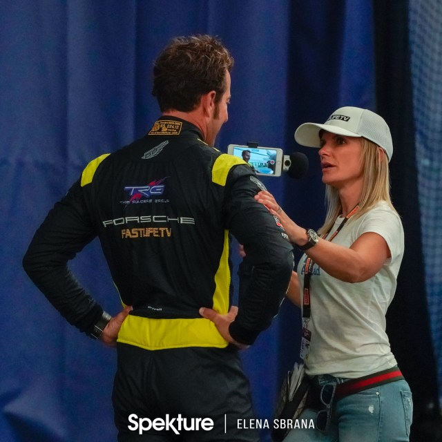 Earchphoto - Brooke De Boer filming with her husband Derek before a public speaking event.