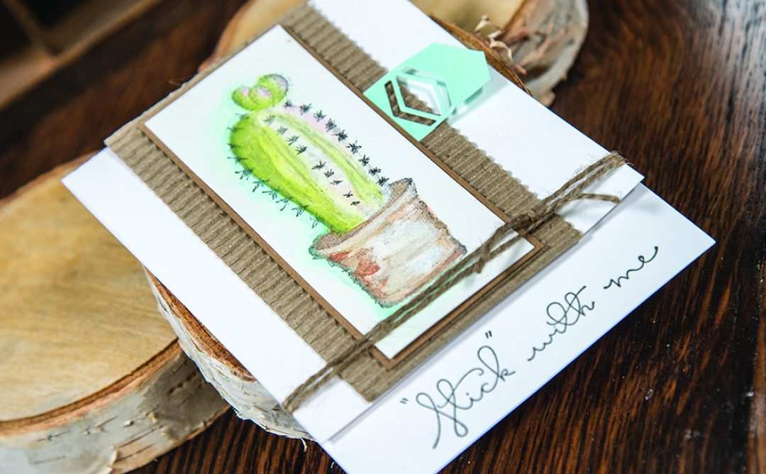 Stick with Me Card using Cactus 3D Shading Stamps