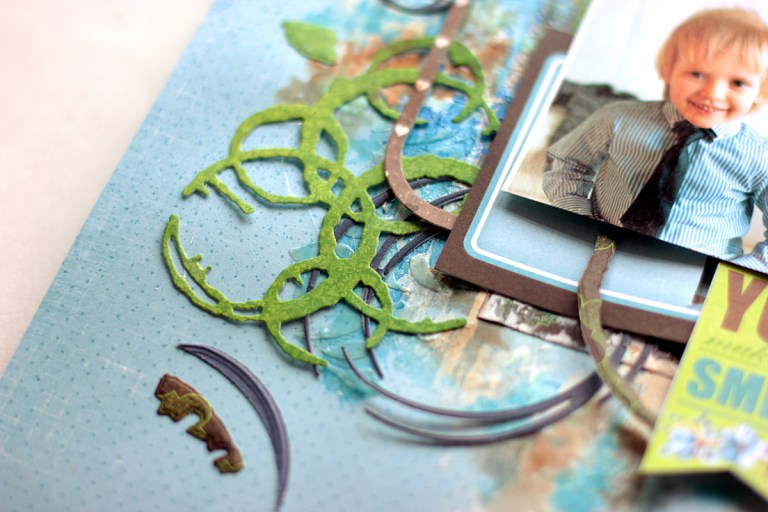 Little Boy Scrapbook Layout with Seth Apter's Dies by Elena Olinevich for Spellbinders