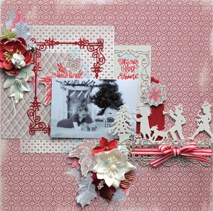 Christmas Present Scrapbook Layout with Elena Olinevich for Spellbinders using S4-768 Swirls Strip, S4-823 Presents, S5-307 A2 Swirls Frame dies and SDS-095 Mandalas, SDS-097 Light Shine stamp and die sets by Stephanie Low. #spellbinders #scrapbooking #layout #christmaslayout