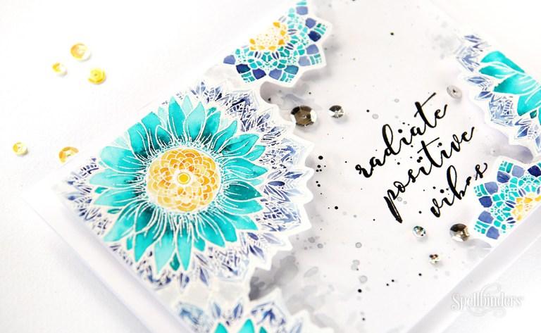 Sunflower Cool Vibes Stamp & Die Set designed by Stephanie Low. Handmade cards by Erum Tasneem for Spellbinders #spellbinders #cardmaking #stamping #watercolor