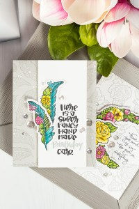 Spellbinders Super Fancy Handmade Birthday Card by Yana Smakula using SDS-100 Feathers Cool Vibes by Stephanie Low Stamp and Die Set #cardmaking #birthdaycard #stamping #handmadecard