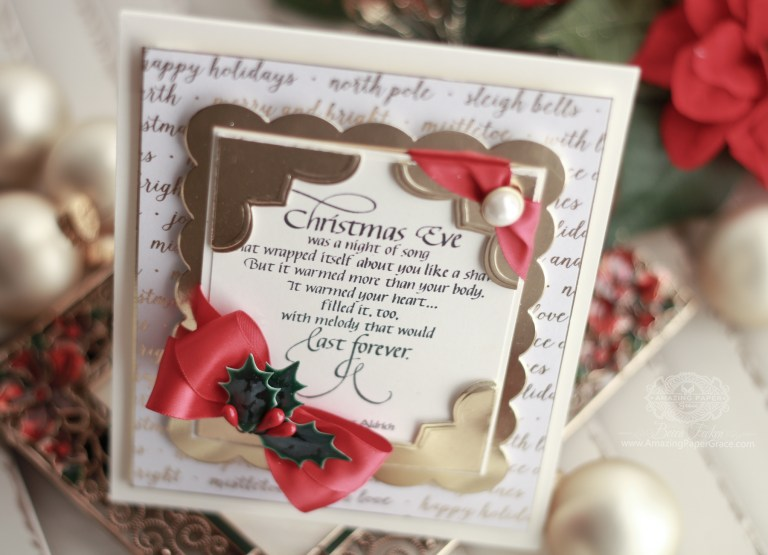 One Size Doesn't Fit All In Christmas Card Giving with Becca Feeken for Spellbinders. Using: S5-311 Emeline Treillage and S4-709 Graceful Corners One dies #spellbinders #cardmaking #christmascardmaking #diecutting