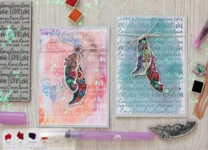 Love Cards with Elena Olinevich for Spellbinders. Using SBS–153 Nothing But Love Stamp, SDS–100 Feather Stamp & Die, S4-788 A2 Waves Borders Dies #spellbinders #cardmaking