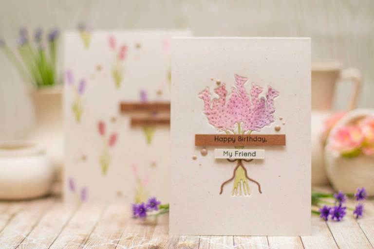 Spellbinders | Lavender & Poppies Inspiration | Dry Embossing with Elena using S3-290 Lavender Bunch S5-321 Eau De Lavender Label #spellbinders #cardmaking
