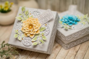 Thoughtful Expression by Marisa Job for Spellbinders - Inspiration   Decorative Boxes with Elena Salo. Using S5-336 Blessings Vine Frame,S4-831 Get Well Soon Scalloped Circle, S6-135 Thinking of You Scalloped Rectangle, S5-335 Succulent & Mum Flowers #spellbinders #neverstopmaking #diecutting #handmade