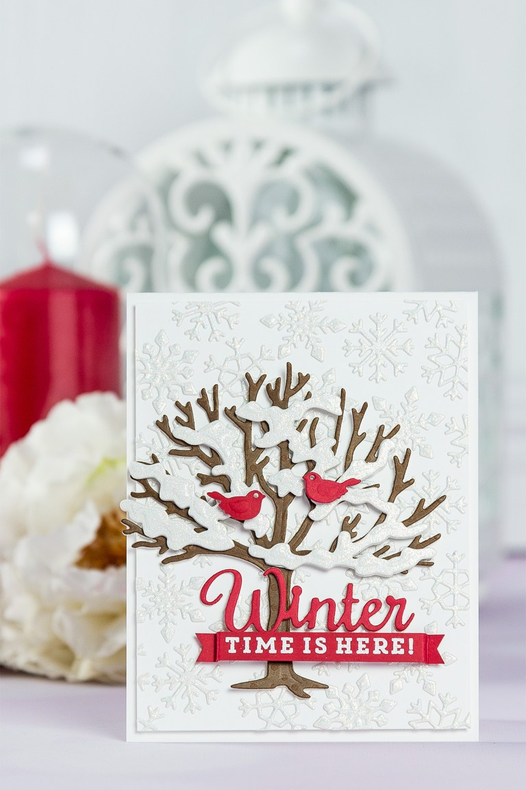 Winter Time Is Here Card by Yana Smakula for Spellbinders. Using Lene Lok Four Seasons collection. S3-308 Seasonal Words, S4-840 Four Seasons Tree, S4-844 Winter Canopy and Elements, S5-338 Wreath Elements. #spellbinders #neverstopmaking #diecutting