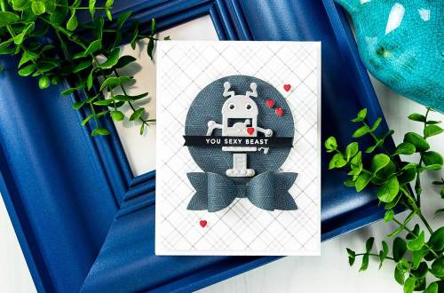 Cardmaking Inspiration | You Sexy Beast Card by Yana Smakula for Spellbinders using S3-283 Bow Ties, S3-309 Robots, S3-313 Love Letter, S4-114 Standard Circles LG dies. #spellbinders #neverstopmaking #diecutting #handmadecard #robotscard