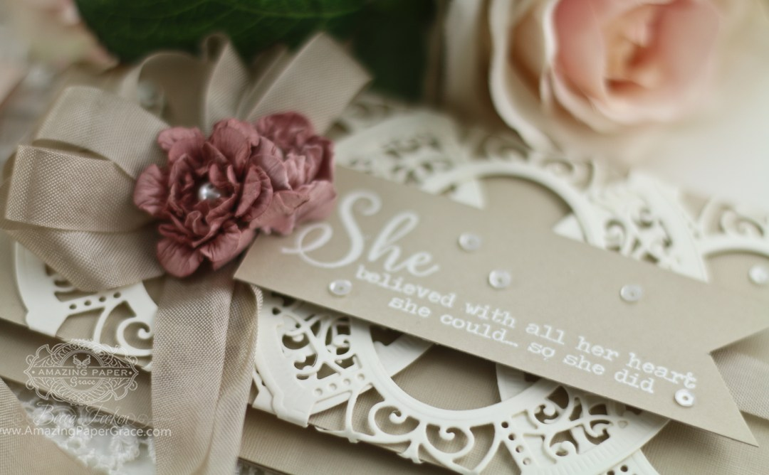 Easy Elements in a Row Card by Becca Feeken for Spellbinders using S5-329 Hannah Elise Layering Frame and S6-050 Cinch and Go Flowers, #diecutting #stamping