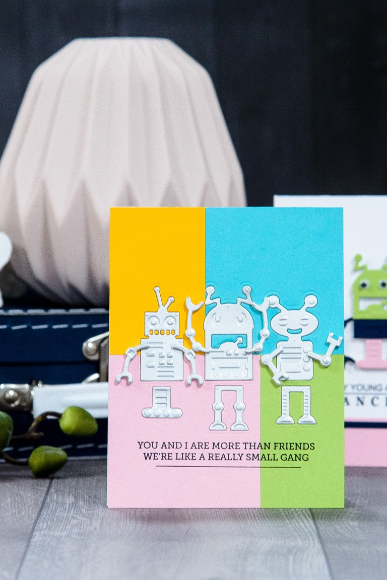 Spellbinders You And I Are More Than Friends Card by Yana Smakula using S3-309 Robots dies. #cardmaking #diecutting #spellbinders #neverstopmaking