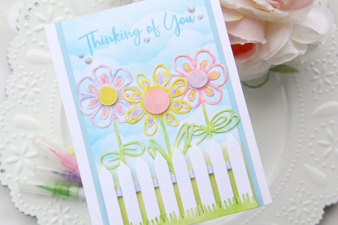Die D-Lites Inspiration | Floral Thinking Of You Card with Brenda for Spellbinders using S3-320 Picket Fence, S3-323 Sketched Blooms 2, S3-322 Sketched Blooms dies. #spellbinders #cardmaking #neverstopmaking #diecutting #handmadecard