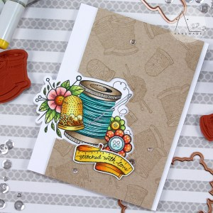 Handmade Collection by Stephanie Low Inspiration | Sew Handmade Card with Anna using SDS-072 Yarn, SDS-075 Sew stamps & dies #stamping #cardmaking #spellbinders #neverstopmaking