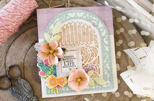 Elegant 3D Vignettes collection by Becca Feeken Inspiration | Ornamental Arch Card with Melissa Phillips using S5-340 Ornamental Arch, S4-867 Cinch and Go Flowers III dies #spellbinders #diecutting #handmadecard #neverstopmaking