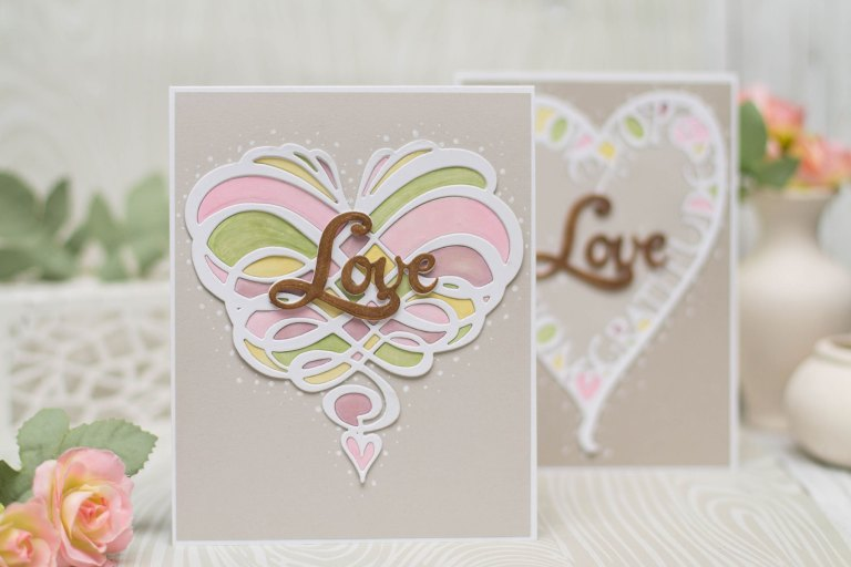 Wings of Love collection by Joanne Fink - Inspiration   Love Cards with Elena for Spellbinders using S4-891 Swirl Heart, S4-899 Love Frame, S3-311 Live Laugh Love dies #cardmaking #handmadecard #diecutting #spellbinders