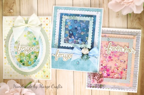 Classics March Collection Inspiration | Shaker Cards with Marge for Spellbinders using S4-904 Scored and Pierced Rectangles, S4-905 Fancy Edged Rectangles, S4-907 Fancy Edged Ovals, S4-909 Fancy Edged Squared, SDS-107 Sentiments 2 #spellbinders #neverstopmaking #shakercards #diecutting #handmadecards