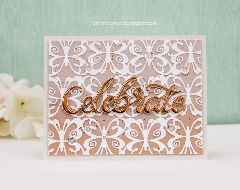 Wings of Love by Joanne Fink - Inspiration | Celebrate Card with Joni for Spellbinders using: S4-888 Words, S4-901 Hearts and Butterflies Border. #spellbinders #neverstopmaking #diecutting #handmadecard #celebratecard