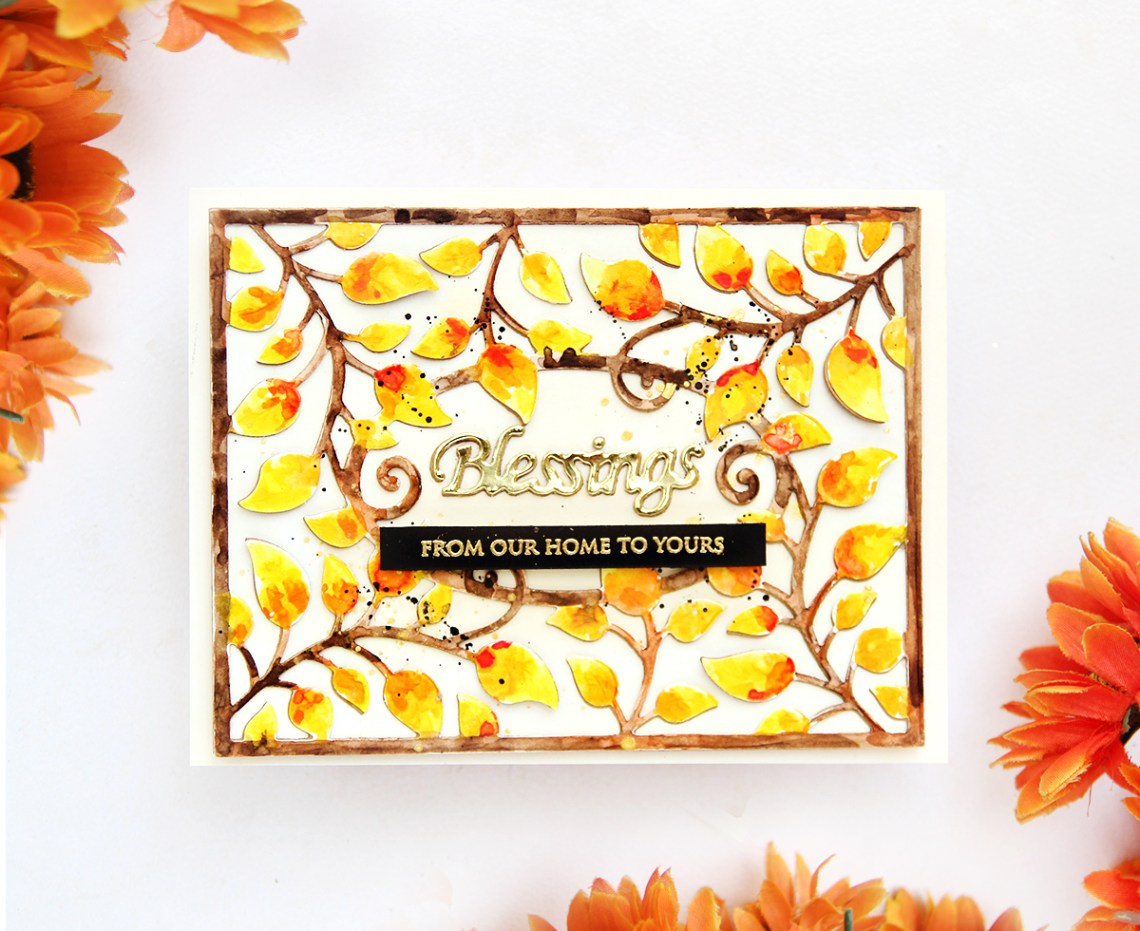 Thoughtful Expressions Collection by Marisa Job - Inspiration | Watercolour Blessings Card by Erum Tasneem for Spellbinders using S5-336 Blessings Vine Frame #spellbinders #marisajob #diecutting #handmadecard #watercolorcard