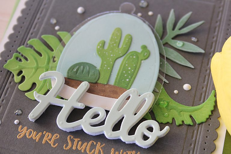 Video Friday   Inked Terrarium Hello Card with Nichol for Spellbinders using: S3-315 Build A Terrarium, S4-564 Phrase Set Two, S4-676 Tropics, S4-905 Fancy Edged Rectangles #diecutting #spellbinders #neverstopmaking #handmadecard