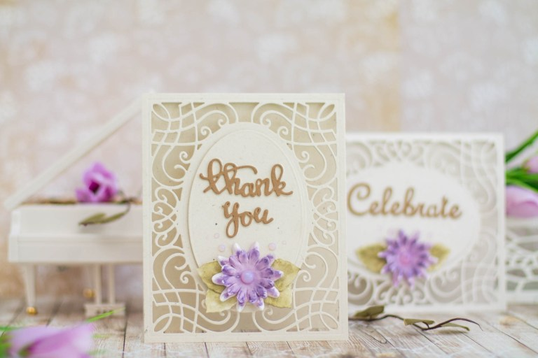 Romancing The Swirl Collection by Becca Feeken - Inspiration | Transparent Card by Elena Salo for Spellbinders. Spellbinders Supplies: S5-364 A2 Corner Cotillion S3-264 Sentiments Set S4-679 All about You PE-100 Platinum™ 6 Die Cutting And Embossing Machine - PE-100 Platinum™ 6 Die Cutting And Embossing Machine; T-001 Tool 'N One. #spellbinders #neverstopmaking #diecutting #handmadecard #amazingpapergrace