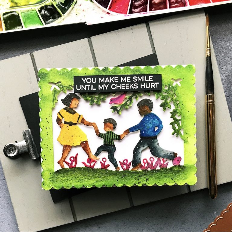 Little Loves Collection by Sharyn Sowell - Inspiration   You Make Me Smile Card by Rubeena for Spellbinders using: S5-349 Little Loves A2 Card Front dies #spellbinders #neverstopmaking #diecutting #handmadecard #watercolordiecut #sharynsowell #littleloves