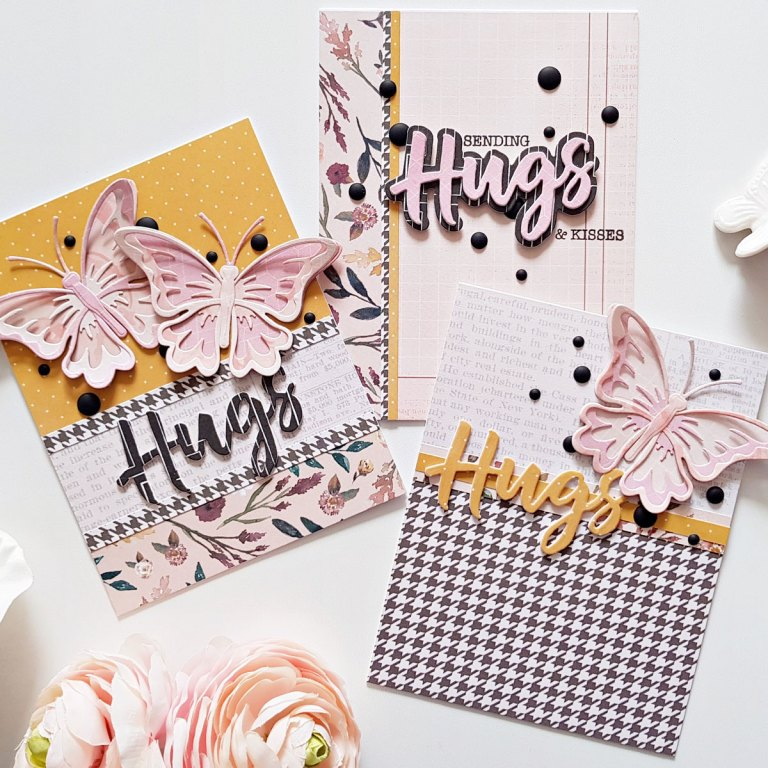 Exclusive Indie Collection Inspiration | Beautiful Hugs Cards by Zsoka for Spellbinders using SDS-154 Hugs Expressions, S5-360 Layered Butterfly #spellbinders #diecutting #neverstopmaking #handmadecard