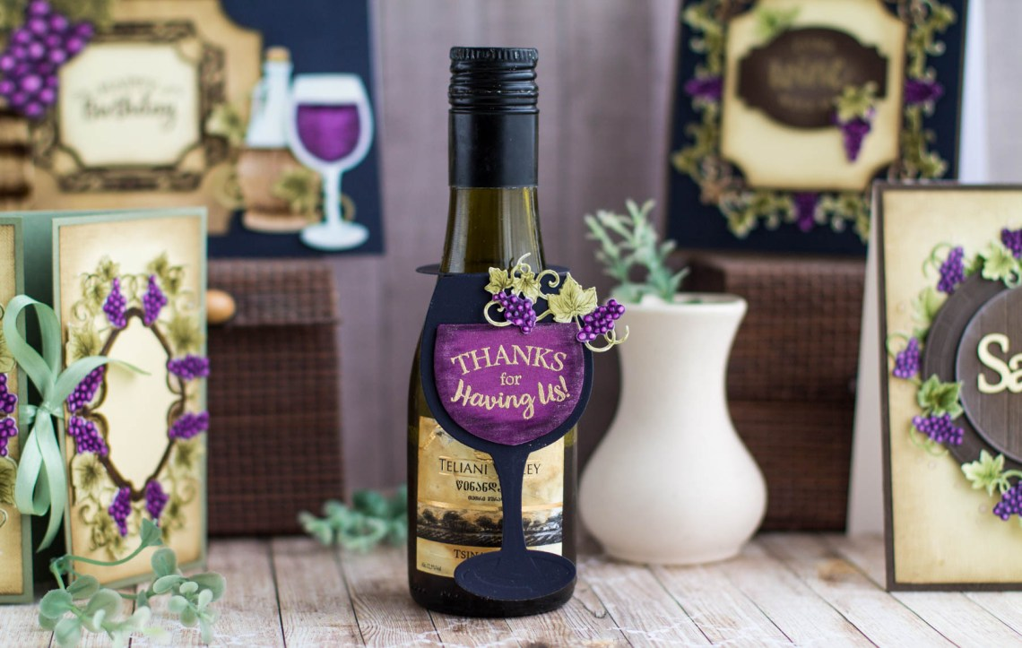 Cardmaking Inspiration | Wine Bottle Tag by Elena Salo for Spellbinders. SDS-134 Wine Glass Bottle Tag. #spellbinders #diecutting #handmadecard #neverstopmaking