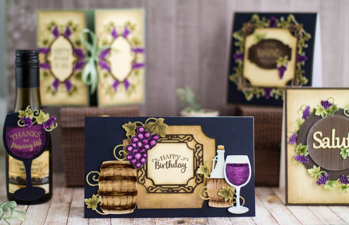 Cardmaking Inspiration | Happy Birthday Card with Elena Salo for Spellbinders. S4-879 Labels 59, S4-880 Labels 59 Decorative Accents, Spellbinders S5-347 Wine Charms, SDS-134 Wine Glass Bottle Tag #spellbinders #winecountry #diecutting #neverstopmaking #handmadecard