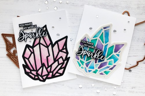 Spellbinders Good Vibes Only Collection by Stephanie Low - Inspiration | Watercolor Background Cards with Caly featuring S5-352 Crystal Peaks #spellbinders #neverstopmaking #diecutting #handmadecard