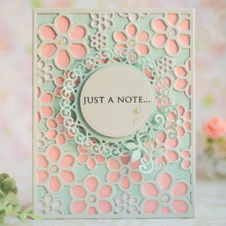 Spellbinders Special Moments Collection by Marisa Job -  Inspiration | Flower Background Card with Elena featuring S5-374 Special Day Frame, S5-375 Flower Background, S5-378 Floral Oval #spellbinders #neverstopmaking #diecutting #handmadecard