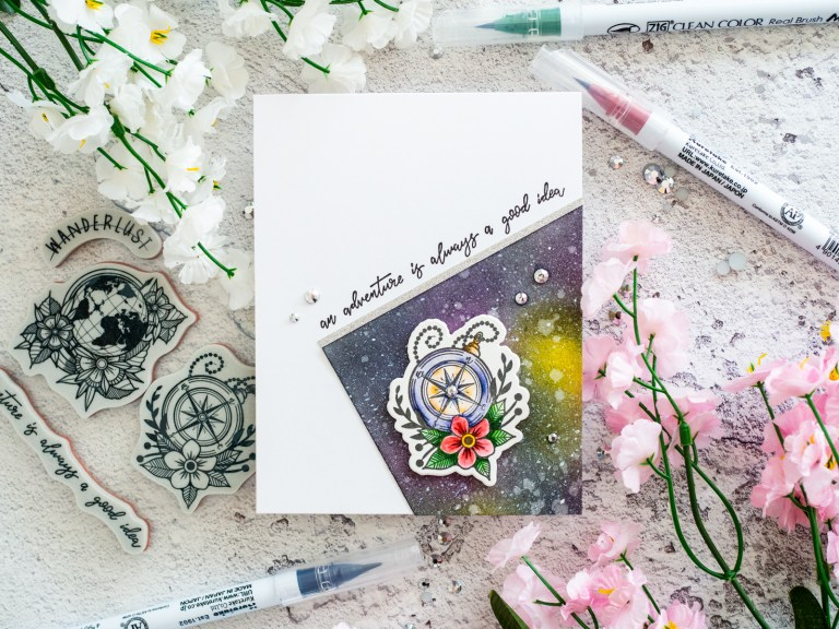 Spellbinders - Inked Messages Collection by Stephanie Low - Inspiration | Wanderlust Galaxy Card with Gemma featuring SDS-137 Wanderlust