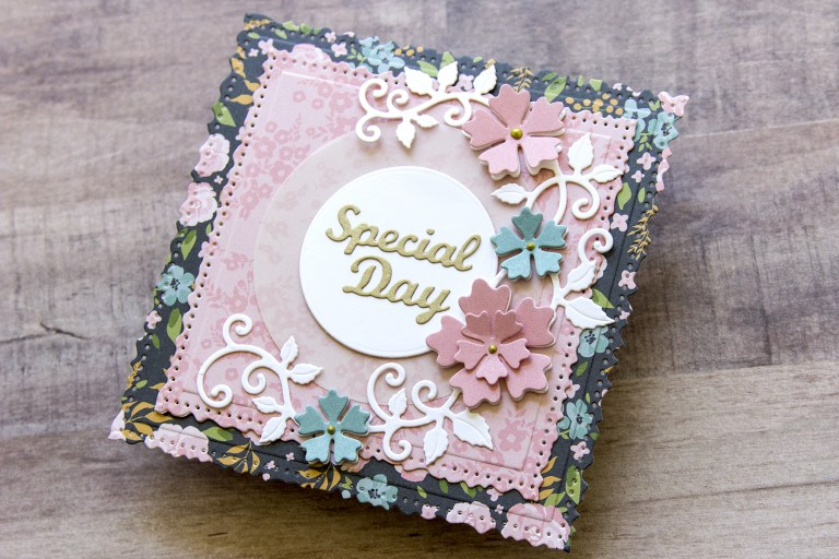 Spellbinders Special Moments Collection by Marisa Job - Inspiration | Vintage-Style Special Occasion Card with Jean featuring S7-215 Vintage Stitched Squares, S5-378 Floral Oval, S5-376 Miss You Swirl, S5-374 Special Day Frame #spellbinders #specialmoments #marisajob #neverstopmaking #diecutting