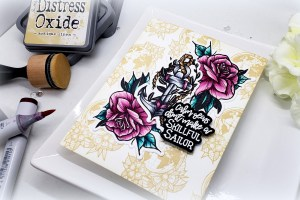Video Friday   Inked Messages Collection by Stephanie Low - Handmade Card by Kelly Latevola featuring SDS-136 Rough Waters, SDS-139 A Rose Any Other Name, SDS-137 Wanderlust #spellbinders #stamping #cardmaking #neverstopmaking