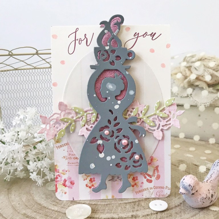 Spellbinders Cuppa Coffee, Cuppa Tea Collection by Sharyn Sowell - Inspiration | Coffee Woman Card with Melissa Phillips featuring S4-951 Coffee Woman, S2-299 Cuppa Love, S5-332 Hemstitch Ovals #neverstopmaking #spellbinders #sharynsowell #diecutting #handmadecard #coffeewoman